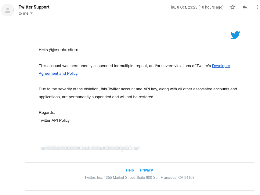 Email from Twitter saying my account was irreversibly suspended