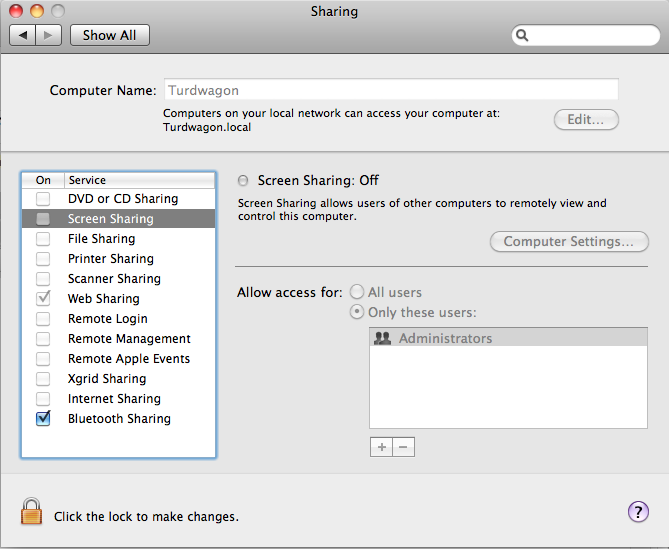 OSX Web Server Grayed Out